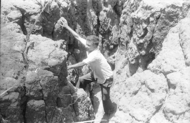 Sarma emerging from gully after checking out the floor, 1978