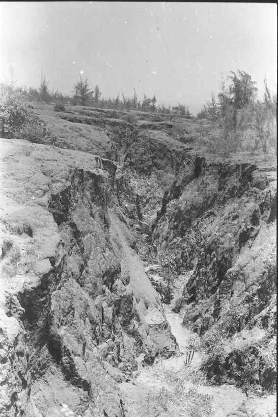 A deep gully-hence the term badland for this terrain.