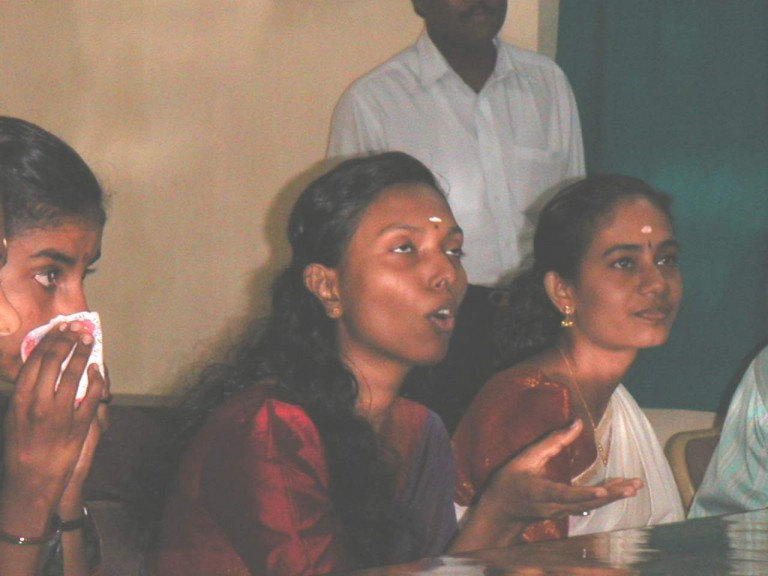 Girl students Talking to team