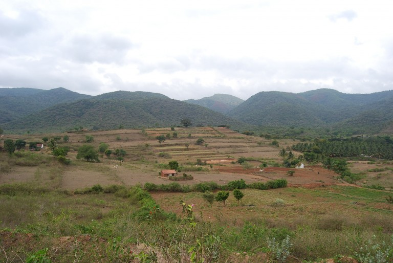 See the western ghats in the background and the huge alluvial fans originating from  the toe of the hills.