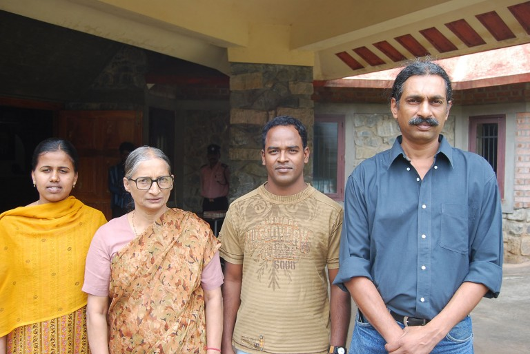 L 2 R:  young researcher ,  Dr (Mrs) Vijayan, another research student, Director the Institute.  Sadly the young director died after couple of months of my visit in 2008