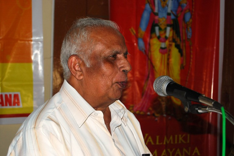 Dr. N.P. Unni, a sanskrit scholar introducing the book.
