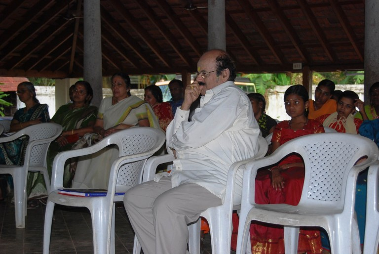 Dr Sambasivan, keenly listening to the Maharaja