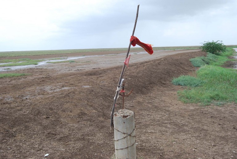 This flag pole is part of a temple in the mud flats.