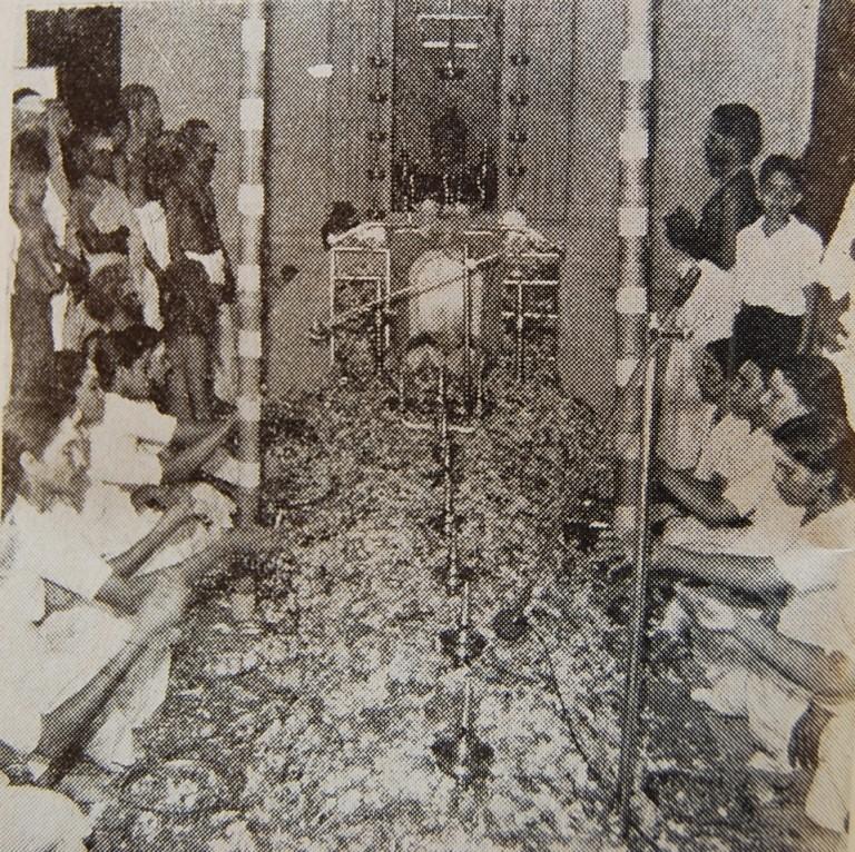 Puspabhishekam in the Siva Temple..