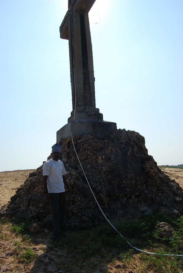 The foundation of the platform of the cross is bared by wind ablation