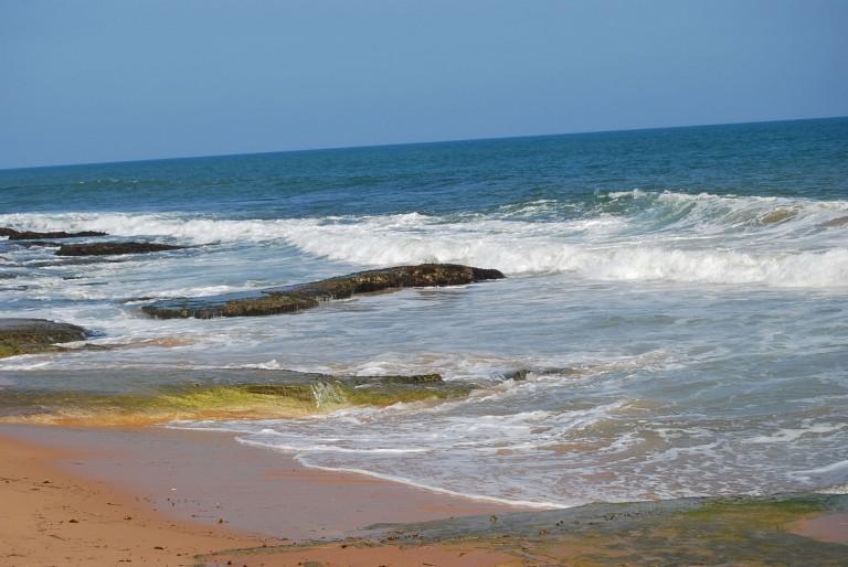 Beach rock exposures on the beach