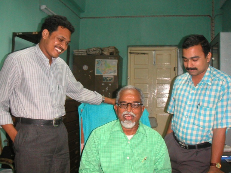 In the office flanked by two project Fellows of ENVIS on Marine Ecosystem which later was scrapped by MOEF supervised by