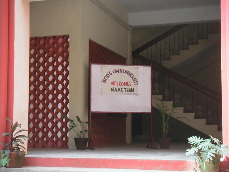 Welcome sign at the Facade of Department