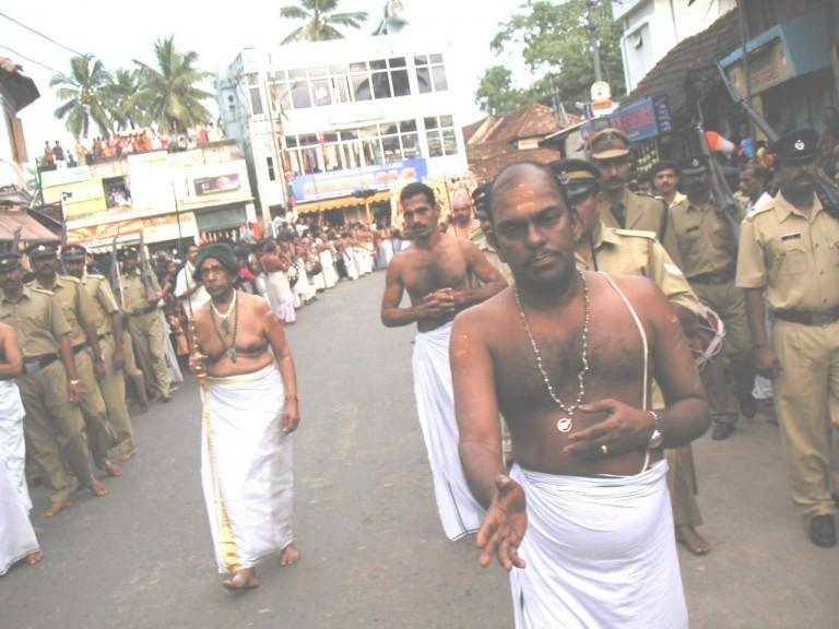 This is Uthradom thirunal Marthanda Varma- a maharaja of Travancore royal family. He is the principal person of the arat.