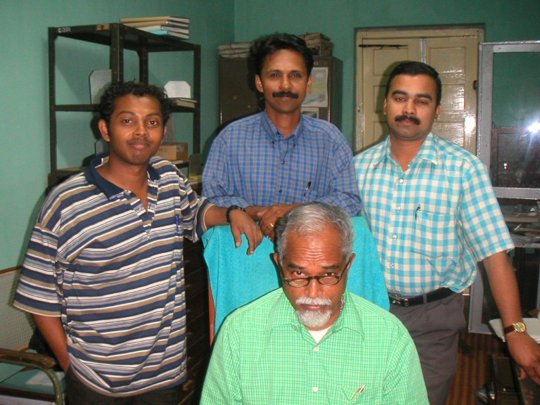 Dr Sabu Joseph (Dept. of Environmental Science) standing in the middle