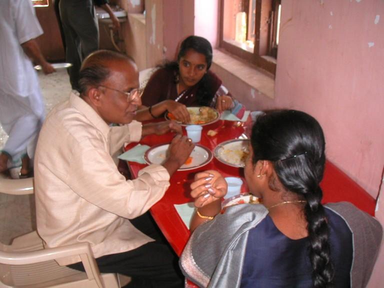 Dr Rajendran enjoying lunch