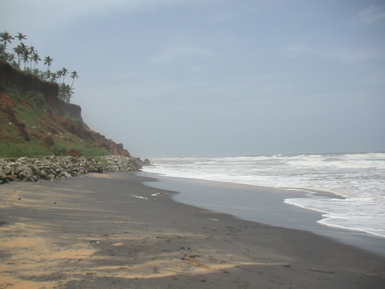 Tertiary cliff at Varkala, southerly view.