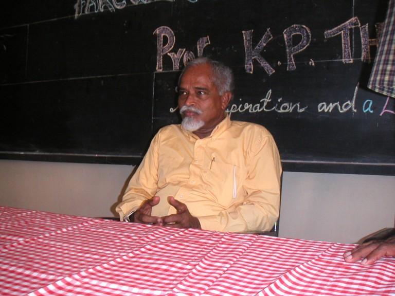 Thrivikramji enjoying the remarks of Anirudhan.