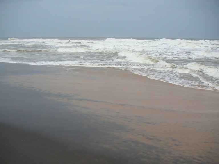 Notice the black beach sand, Varkala
