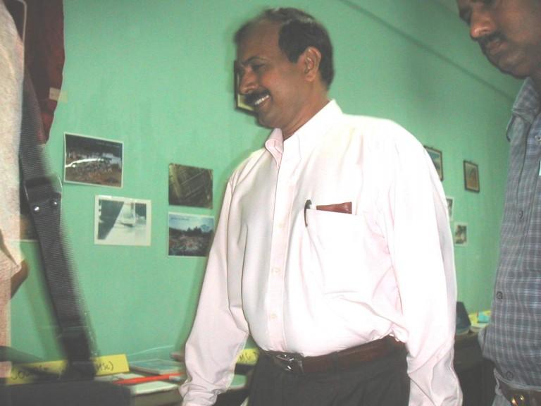 Prasannan talks to some one of the team