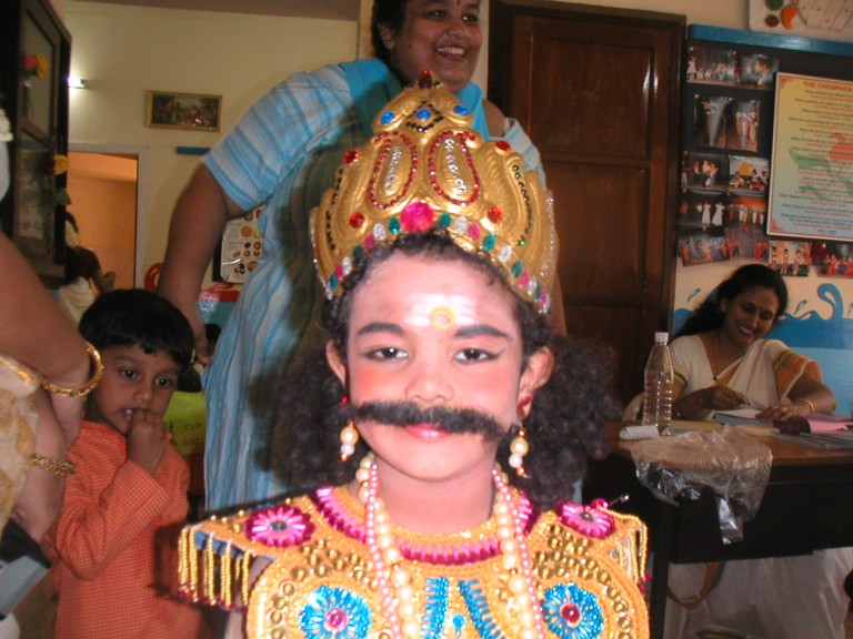 Darsan readied as Maveli for a Onam related competition in his school