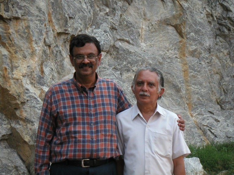 Drs. Roy Chacko and V.N.Nair, my own colleagues posing for a picture in a rock quarry to the east Univ. campus, Kariavattom..