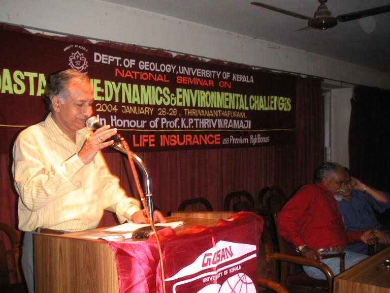 MM Nair at the podium