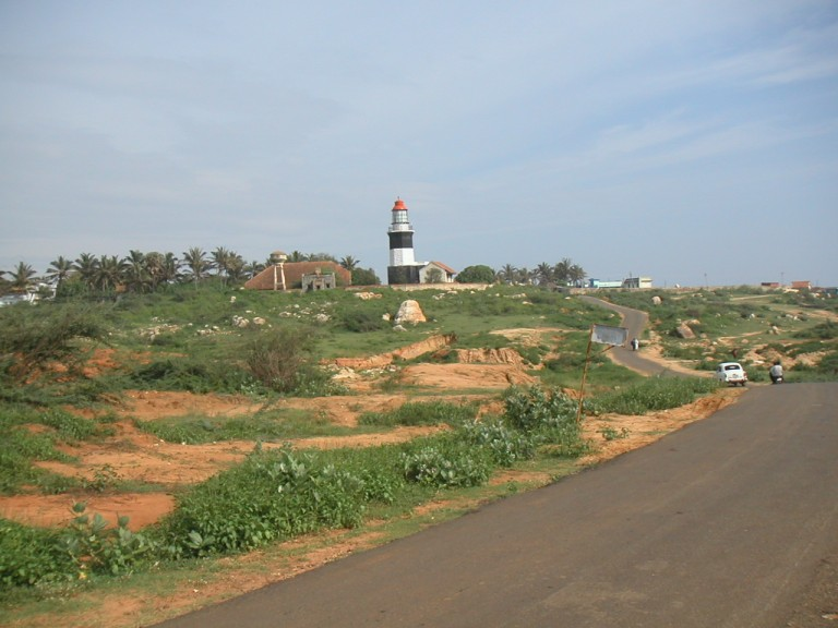The Muttom light house near the background. View southerly from the Muttom-Kadiapattanam Rd.